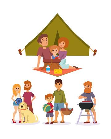 ajuste de picnic con la familia fiesta de la gente del almuerzo carácter ilustración vectorial jardín fresca cesta alimento cesta barbacoa reposo pareja y comida de verano. Foto de archivo