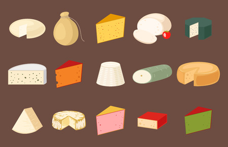 Delicious fresh cheese variety italian dinner icon flat dairy food and milk camembert piece different delicatessen gouda set isolated vector illustration. Illustration