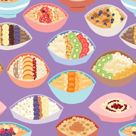 Cartoon seamless pattern healthy oatmeal porridge in bowls with different organic.