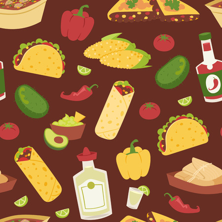 chips and salsa: Mexican traditional food with meat seamless pattern Illustration