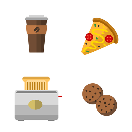 chinese take away container: Vector icons sweet fast food elements. Illustration
