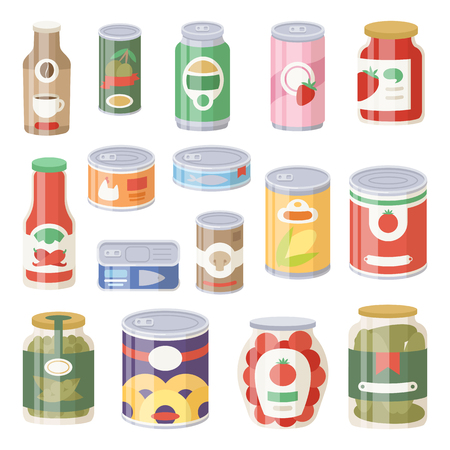 様々 な缶のコレクションは缶詰商品食品金属容器食料雑貨品店および製品ストレージ アルミ フラット節約ベクター イラストです。