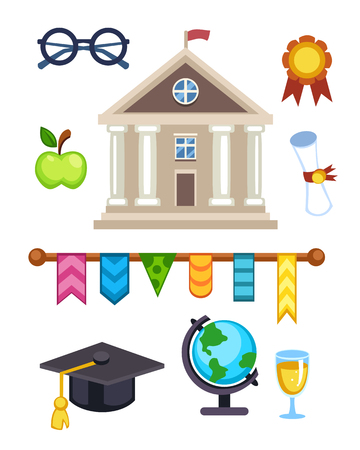 first house: University building vector illustration. Flat school education elementary high college icons isolated. Graduation ceremony champion cup winner trophy diploma. Illustration