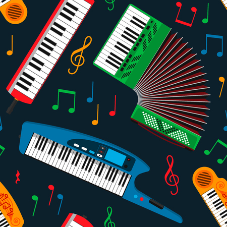 Synthesizer piano musical equipment seamless pattern vector illustration.