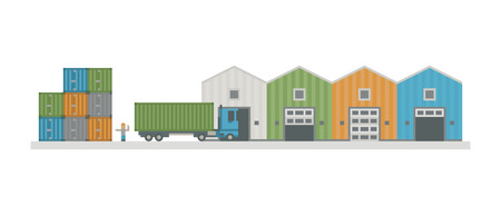 Warehouse logistic buildings vector illustration.
