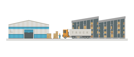 lifter: Warehouse logistic buildings vector illustration.