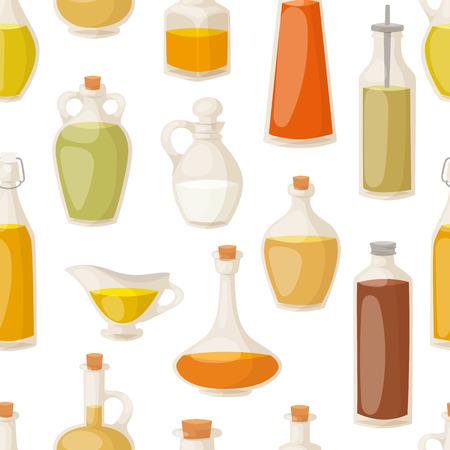 mediterranean: Different food oil in bottles seamless pattern vector Illustration