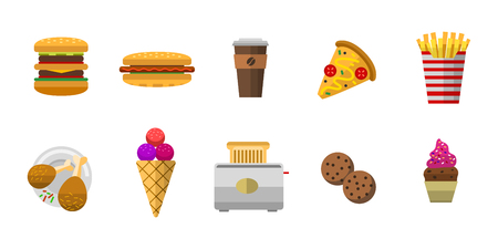 Vector icons sweet fast food elements. Stok Fotoğraf - 72789120