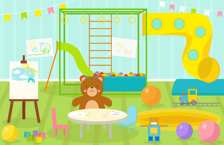 Kids playroom with light furniture decor playground and toys on the floor carpet decorating flat style cartoon comfortable interior vector illustration. Stok Fotoğraf - 72789138