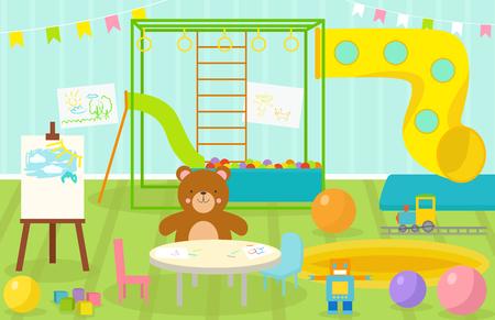 Les enfants salle de jeux avec un mobilier léger décor aire de jeux et jouets sur le tapis de sol décoration style cartoon plat intérieur confortable illustration vectorielle. Vecteurs