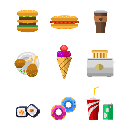 Vector icons sweet fast food elements. Stok Fotoğraf - 73111676