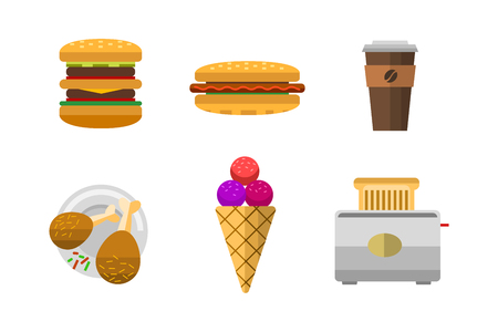 Vector icons sweet fast food elements. Çizim
