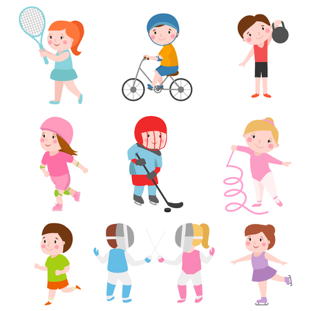 Young kids sportsmens on white and children young winners after sport school team players vector illustration.