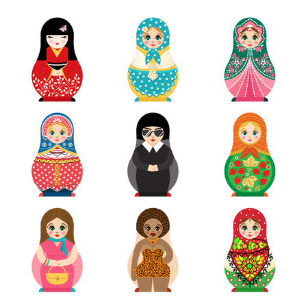 matriosca: Traditional russian matryoshka toy set with handmade ornament figure pattern with child face and babushka woman souvenir painted doll vector illustration. Illustration