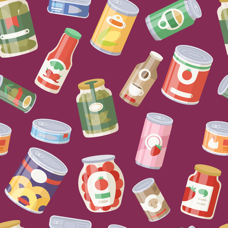 Collection of various tins canned goods food metal container seamless pattern background