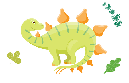Cartoon dinosaur vector illustration isolated monster animal dino prehistoric character reptile predator jurassic leaf fantasy dragon