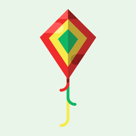 Flying kite vector illustration wind fun toy fly leisure happy isolated joy string activity play freedom game design vacation childhood Illustration