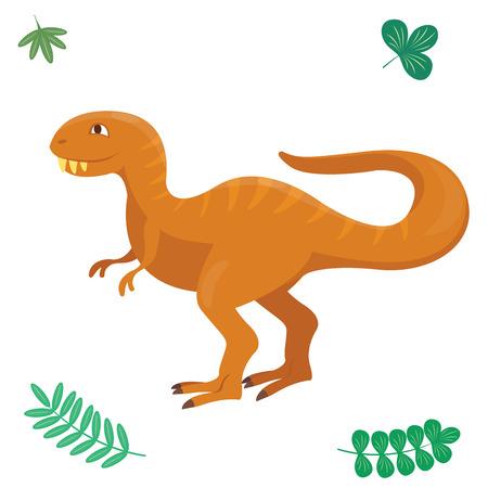 Cartoon dinosaur vector illustration isolated monster animal dino prehistoric character reptile predator jurassic comic fantasy dragon Illustration