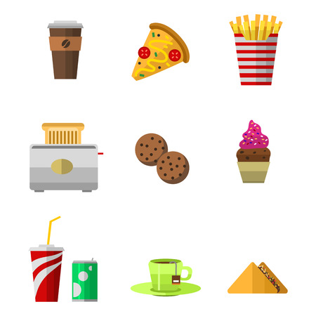 Vector icons sweet fast food elements. Stok Fotoğraf - 73028323