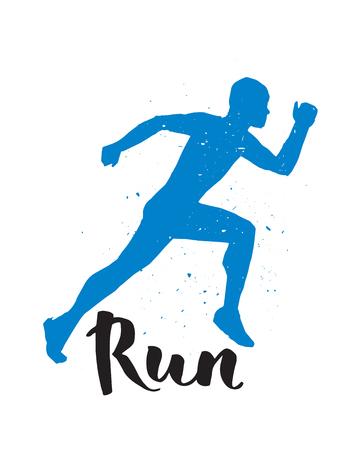 jog: Running runner man marathon logo jogging emblems label and fitness training athlete symbol sprint motivation badge success work isolated vector illustration.