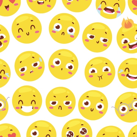 Seamless pattern with cheerful happy smileys for textiles interior or book design and funny character website yellow expression background vector illustration