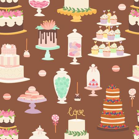 indulgence: Cakes cartoon style seamless pattern vector illustration. Illustration