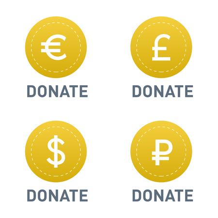 aiding: Donate buttons vector set illustration help icon donation gift charity isolated support design sign contribute contribution give money giving symbol