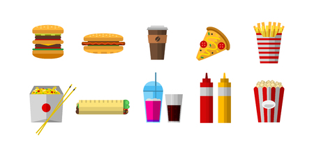 Vector icons sweet fast food elements. Stok Fotoğraf - 73059139