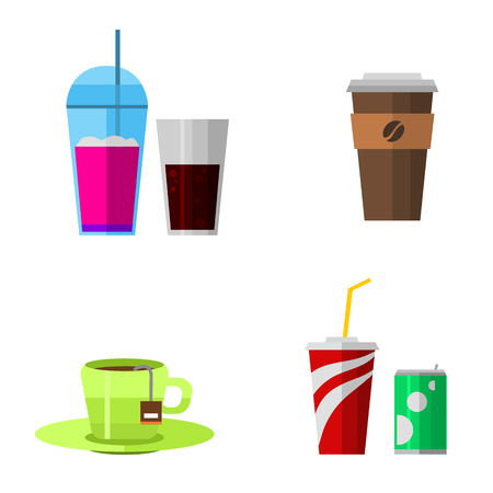 chinese take away container: Vector icons drink fast food elements.
