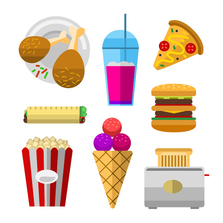 Vector icons sweet fast food elements. Stok Fotoğraf - 73509201