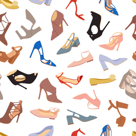 women's shoes: Womens shoes flat fashion footwear design vector seamless patterns background
