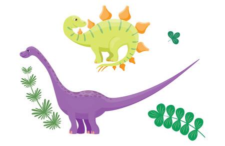Cartoon dinosaurs diplodocus vector illustration isolated monster animal dino prehistoric character reptile predator jurassic fantasy dragon leaf Illustration