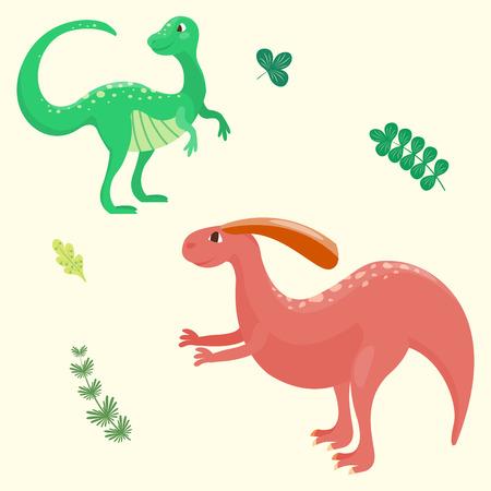 Cartoon dinosaurs vector illustration isolated monster animal dino prehistoric character reptile predator jurassic fantasy dragon leaf