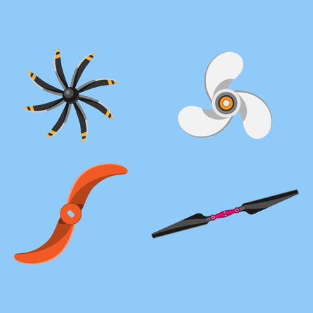 Propeller fan vector illustration fan propeller wind ventilator equipment air icon blower cooler set rotation technology power object circle rotate Illustration