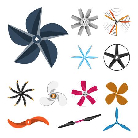 Propeller fan vector illustration fan propeller wind ventilator equipment air icon blower cooler set rotation technology power object circle rotate Illustration