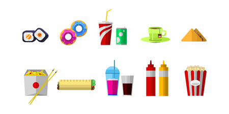 Vector icons sweet fast food elements. Stok Fotoğraf - 73693690