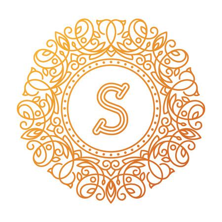 bage: Monogram S bage logo vector illustration text letter nature leaf badge emblem line set collection sign ornament element vintage frame elegant ornament