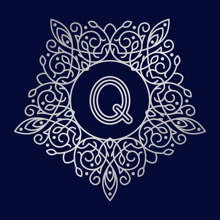 bage: Monogram Q bage logo vector illustration text letter nature leaf badge emblem line set collection sign ornament element vintage frame elegant ornament