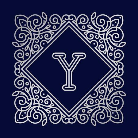 bage: Monogram Y bage logo vector illustration text letter nature leaf badge emblem line set.