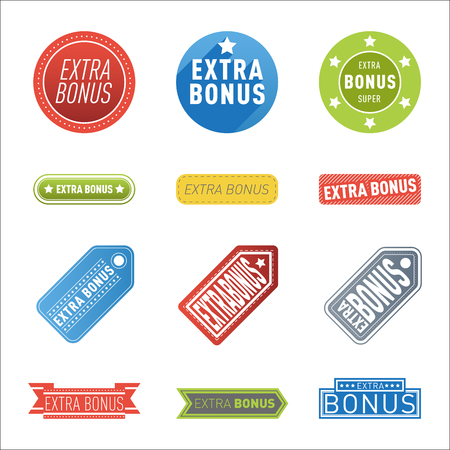 Super extra bonus banners text in color drawn labels, business shopping concept vector internet promotion shopping vector Stok Fotoğraf - 73444828