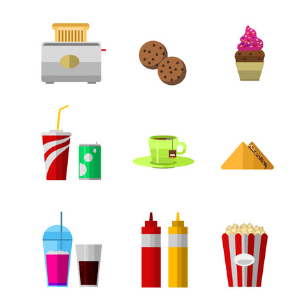 Vector icons sweet fast food elements. Stok Fotoğraf - 73444890