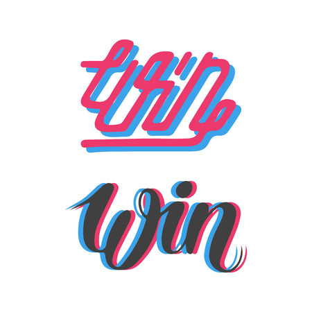 Win text sign test success message contest promotion banner competition and award lucky lottery word modern reward gamble champion vector illustration.