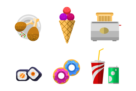 Vector icons sweet fast food elements. Illustration