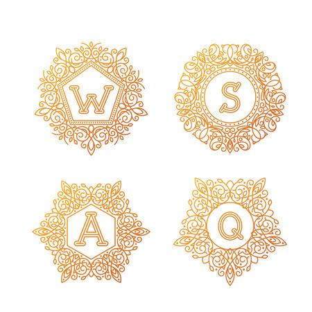 bage: Monogram bage logo vector illustration text letter nature leaf badge emblem line.