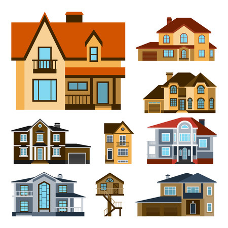 fasade: Houses front view vector illustration building architecture home construction estate. Illustration