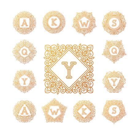 bage: Monogram bage logo vector illustration text letter nature leaf badge emblem line set collection sign ornament element vintage frame elegant ornament Illustration