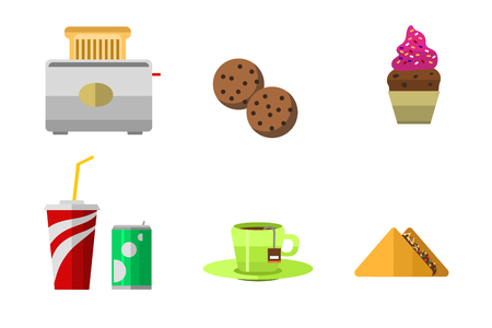 Vector icons sweet fast food elements. Stok Fotoğraf