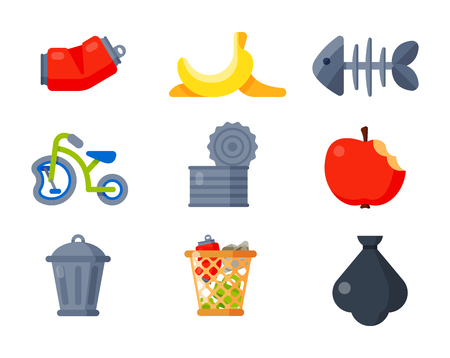 Vector drawings set of waste and garbage for recycling. Container reuse separation. Illustration