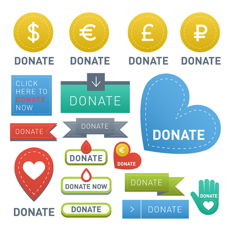 Vector donate concept hand and money set of buttons in flat style.