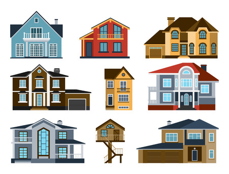 Houses front view vector illustration. Houses flat style modern constructions vector. House front facade building architecture home construction, urban house buildings apartment front view Illustration